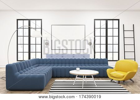 Modern spacious lounge interior with blue sofas a ladder large windows and a framed horizontal poster in the center. 3d rendering mock up