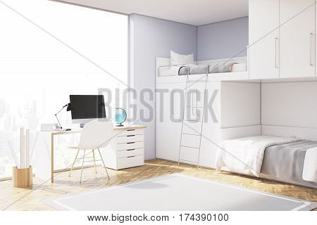 Close up of a room of a teenager with computer standing on a white desk a closet and a double bed of original construction. 3d rendering. Mock up.
