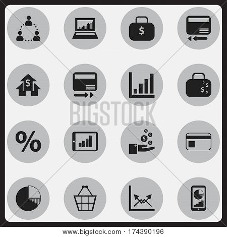 Set Of 16 Editable Analytics Icons. Includes Symbols Such As Pay Redeem, Money Bag, Bar Chart And More. Can Be Used For Web, Mobile, UI And Infographic Design.