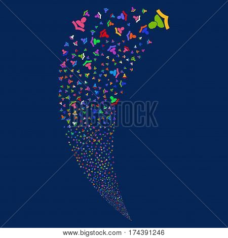 Reader random fireworks stream. Vector illustration style is flat bright multicolored iconic symbols on a blue background. Object fountain done from scattered icons.