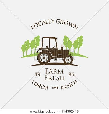 logo tractor - vector illustration. Fresh Farm Produce