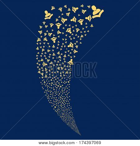 Book Reader random fireworks stream. Vector illustration style is flat yellow iconic symbols on a blue background. Object fountain organized from scattered pictograms.