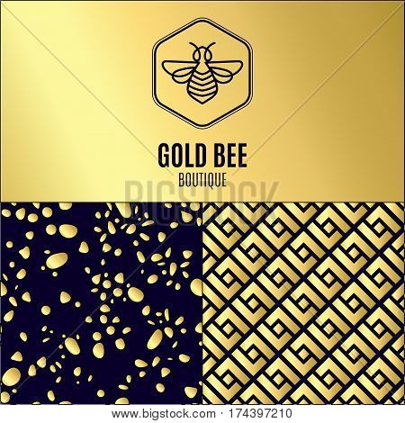 Logo with insect. Badge Bee for corporate identity, packaging luxury brand, eco-cosmetic, soap, medical product and honey. Trend style thin line. Texture for wrapping, textiles, surface design