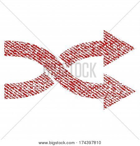Shuffle Arrows Right vector textured icon for overlay watermark stamps. Red fabric vectorized texture. Symbol with scratched design. Red ink rubber seal stamp with fiber textile structure.