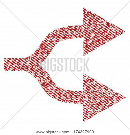 Split Arrows Right vector textured icon for overlay watermark stamps. Red fabric vectorized texture. Symbol with scratched design. Red ink rubber seal stamp with fiber textile structure.