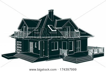 Modern Family House Perspective Isolated Illustration Vector