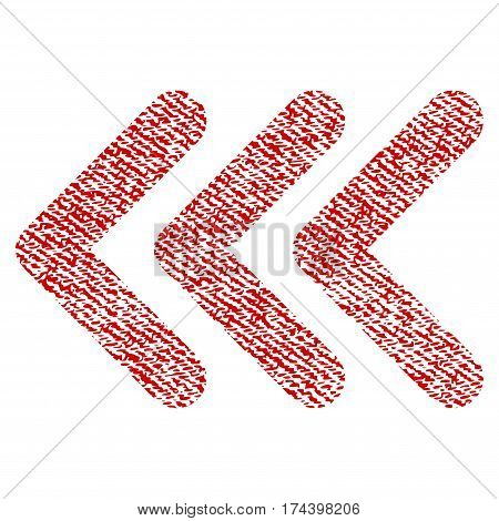 Triple Arrowhead Left vector textured icon for overlay watermark stamps. Red fabric vectorized texture. Symbol with dirty design. Red ink rubber seal stamp with fiber textile structure.