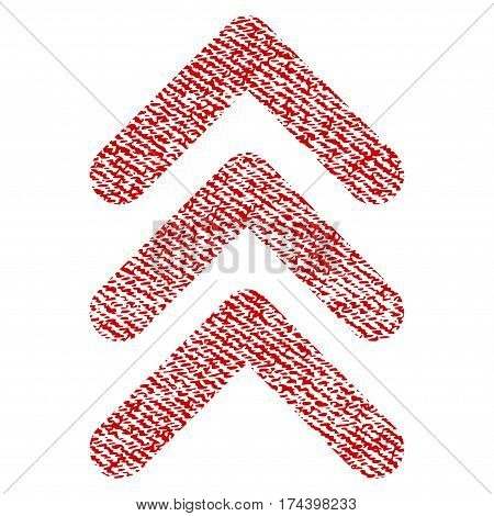Triple Arrowhead Up vector textured icon for overlay watermark stamps. Red fabric vectorized texture. Symbol with scratched design. Red ink rubber seal stamp with fiber textile structure.