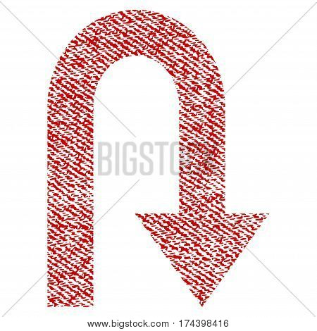 Turn Back vector textured icon for overlay watermark stamps. Red fabric vectorized texture. Symbol with unclean design. Red ink rubber seal stamp with fiber textile structure.
