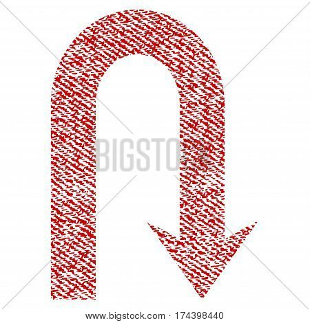 Turn Back vector textured icon for overlay watermark stamps. Red fabric vectorized texture. Symbol with dirty design. Red ink rubber seal stamp with fiber textile structure.