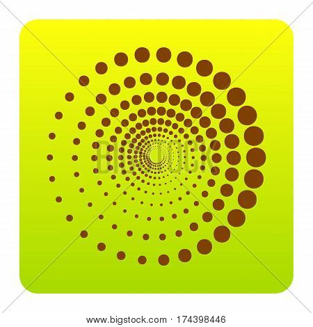 Abstract technology circles sign. Vector. Brown icon at green-yellow gradient square with rounded corners on white background. Isolated.