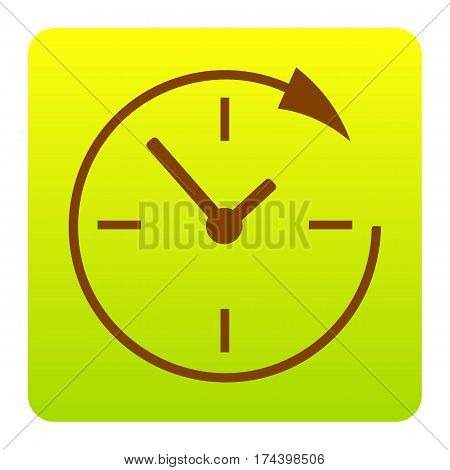 Service and support for customers around the clock and 24 hours. Vector. Brown icon at green-yellow gradient square with rounded corners on white background. Isolated.