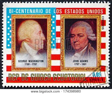 EQUATORIAL GUINEA - CIRCA 1975: a stamp printed in Equatorial Guinea shows George Washington and John Adams Presidents American Bicentenary circa 1975