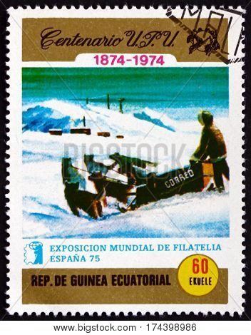 EQUATORIAL GUINEA - CIRCA 1974: a stamp printed in Equatorial Guinea shows Postman in sleigh circa 1974