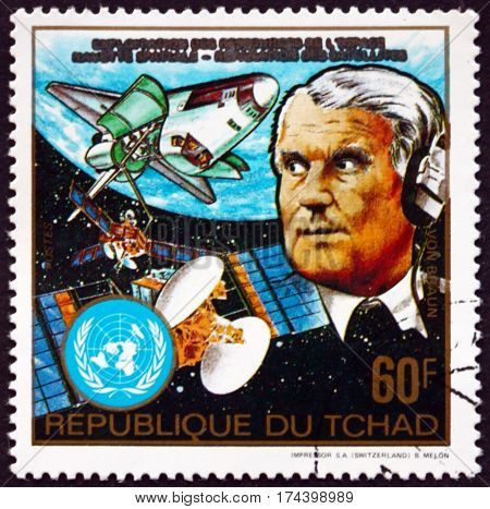 CHAD - CIRCA 1983: a stamp printed in Chad shows Wernher von Braun and Columbia space shuttle circa 1983