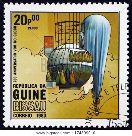 GUINEA-BISSAU - CIRCA 1983: a stamp printed in Guinea-Bissau shows Hot air balloon manned flight bicentenary circa 1983
