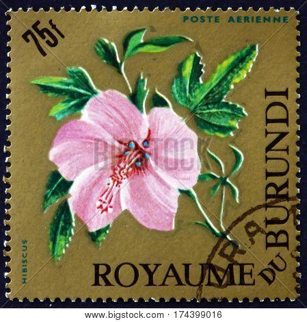 BURUNDI - CIRCA 1966: a stamp printed in Burundi shows Flower of hibiscus circa 1966