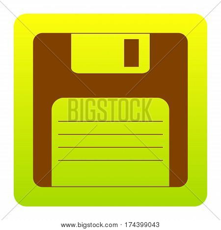 Floppy disk sign. Vector. Brown icon at green-yellow gradient square with rounded corners on white background. Isolated.