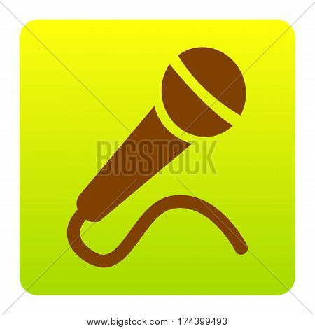 Microphone sign illustration. Vector. Brown icon at green-yellow gradient square with rounded corners on white background. Isolated.