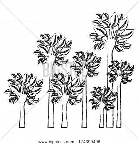 silhouette blurred set palms with trunk in hands shape vector illustration