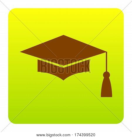 Mortar Board or Graduation Cap, Education symbol. Vector. Brown icon at green-yellow gradient square with rounded corners on white background. Isolated.