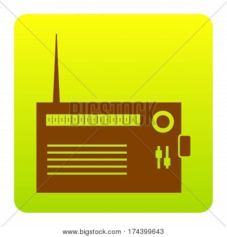 Radio sign illustration. Vector. Brown icon at green-yellow gradient square with rounded corners on white background. Isolated.