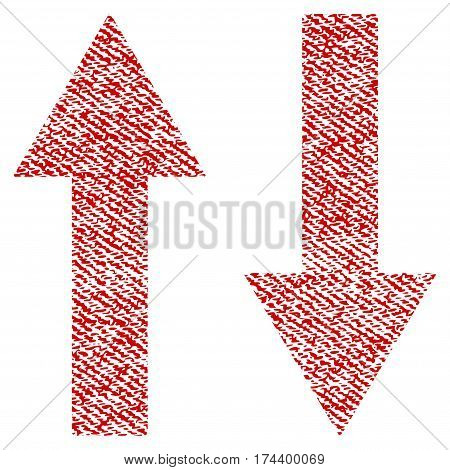 Vertical Flip Arrows vector textured icon for overlay watermark stamps. Red fabric vectorized texture. Symbol with dust design. Red ink rubber seal stamp with fiber textile structure.