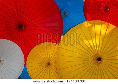 Colorful Thai Traditional Umbrella - Made with Wood and Paper
