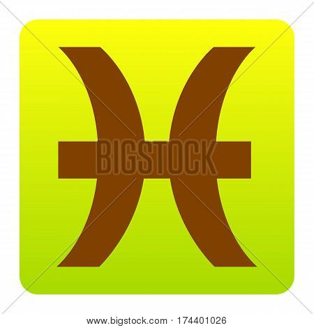 Pisces sign illustration. Vector. Brown icon at green-yellow gradient square with rounded corners on white background. Isolated.
