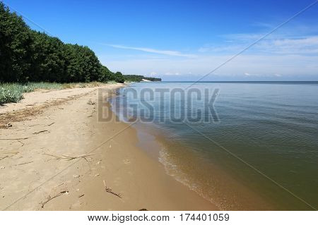 Sand beach of the Curonian lagoon near Morskoe (Pillkoppen) village in the Curonian Spit National Park. Russia.