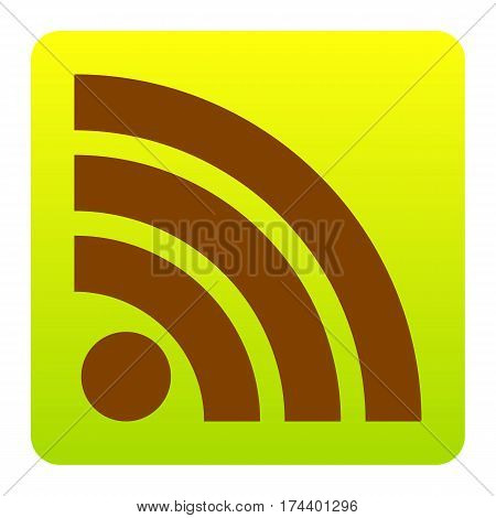 RSS sign illustration. Vector. Brown icon at green-yellow gradient square with rounded corners on white background. Isolated.