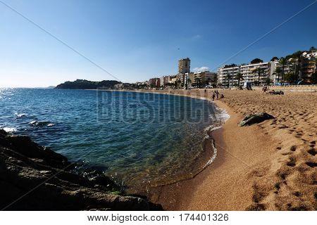 Lloret de Mar Castell Plaja at Sa Caleta beach in Catalonia Spain