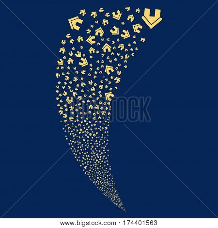 Home random fireworks stream. Vector illustration style is flat yellow iconic symbols on a blue background. Object fountain done from scattered design elements.