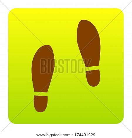 Imprint soles shoes sign. Vector. Brown icon at green-yellow gradient square with rounded corners on white background. Isolated.