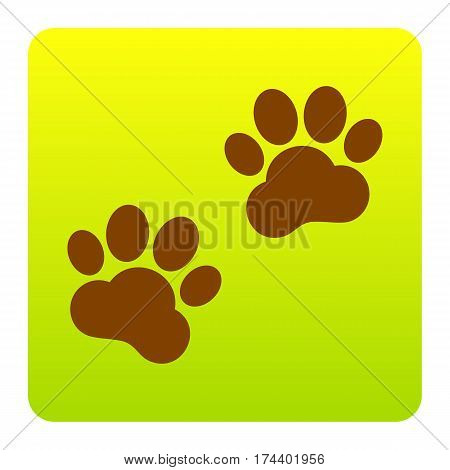 Animal Tracks sign. Vector. Brown icon at green-yellow gradient square with rounded corners on white background. Isolated.