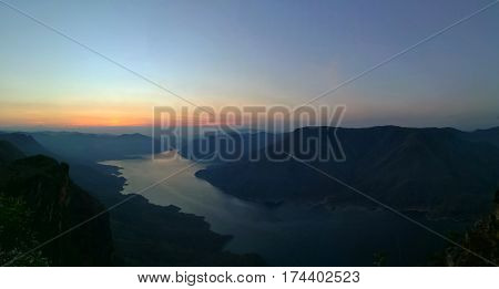 Sunrise at mountain view point, Pha Daeng Luang,  Mae Ping Nation Park, Lumphun, Thailand
