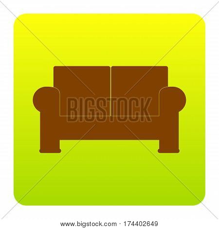 Sofa sign illustration. Vector. Brown icon at green-yellow gradient square with rounded corners on white background. Isolated.