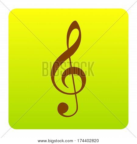 Music violin clef sign. G-clef. Treble clef. Vector. Brown icon at green-yellow gradient square with rounded corners on white background. Isolated.