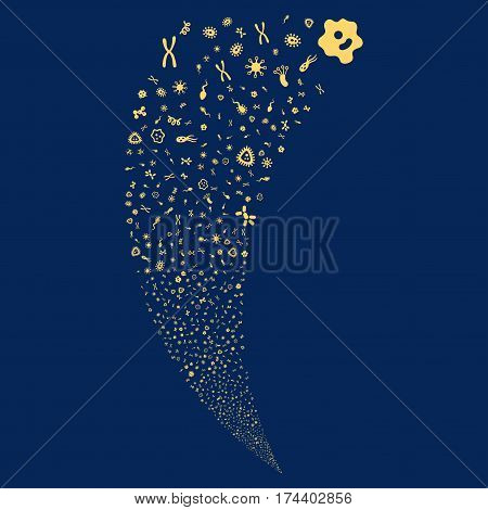 Microbes random fireworks stream. Vector illustration style is flat yellow iconic symbols on a blue background. Object fountain made from scattered symbols.