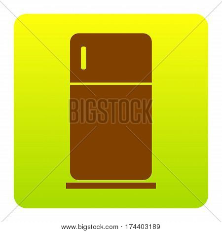 Refrigerator sign illustration. Vector. Brown icon at green-yellow gradient square with rounded corners on white background. Isolated.