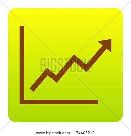 Growing bars graphic sign. Vector. Brown icon at green-yellow gradient square with rounded corners on white background. Isolated.