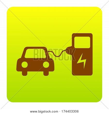 Electric car battery charging sign. Vector. Brown icon at green-yellow gradient square with rounded corners on white background. Isolated.