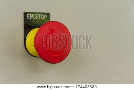 Red emergency stop and reset button, For machine controller.