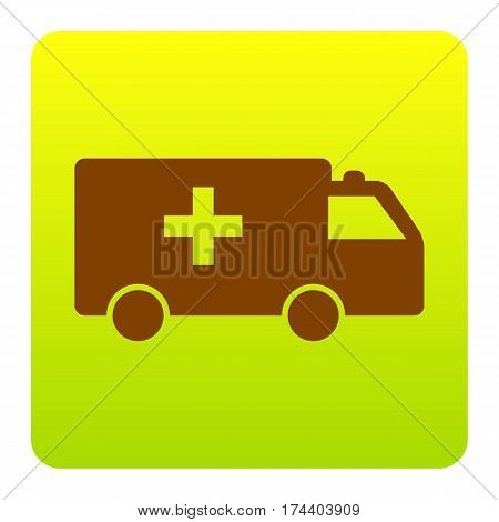 Ambulance sign illustration. Vector. Brown icon at green-yellow gradient square with rounded corners on white background. Isolated.
