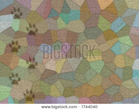 Mosaic Carpet With Dirty Dog Trail - Digital Illustration