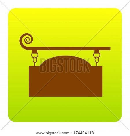 Wrought iron sign for old-fashioned design. Vector. Brown icon at green-yellow gradient square with rounded corners on white background. Isolated.