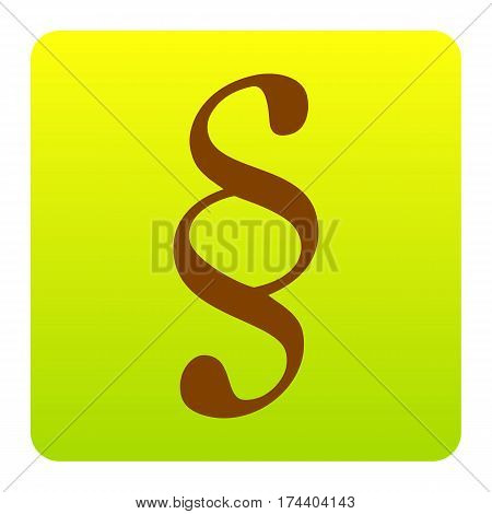 Paragraph sign illustration. Vector. Brown icon at green-yellow gradient square with rounded corners on white background. Isolated.