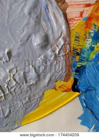 Abstract Composition of Leftover Paint on a Painter's Palette