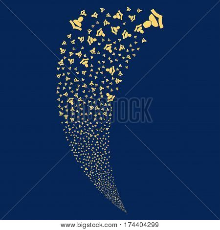 Reader random fireworks stream. Vector illustration style is flat yellow iconic symbols on a blue background. Object fountain combined from scattered pictographs.