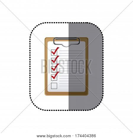 sticker colorful table notepad with check list vector illustration
